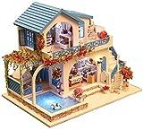 QLKJ DIY Building Models Building Kit con Mobili LED Music Box in Legno Miniatura Dollhouse 3D Puzzle