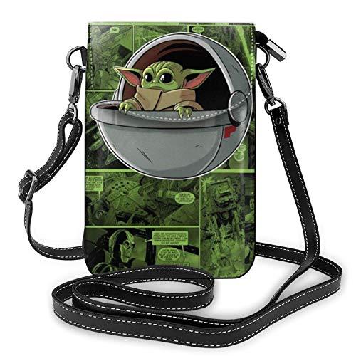 shenguang Mandalorian Yo-da Comic Leichte kleine Umhängetaschen Leder Handy Geldbörsen Reisetasche Umhängetasche Brieftasche mit Kreditkartenfächern für Frauen