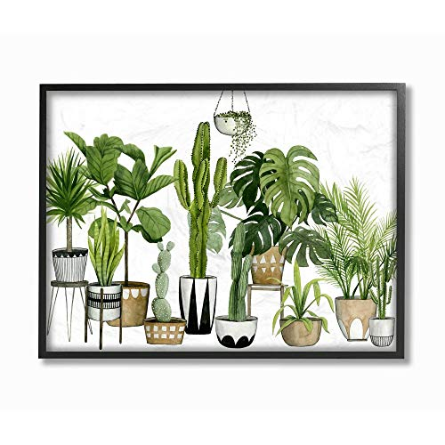 Stupell Industries Boho Plant Scene with Cacti and Succulents in Geometric Pots Watercolor Black Framed Wall Art, 16 x 20, Design by Artist Grace Popp