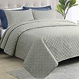 "NTBAY Full/Queen (90"" x 96"") Quilt Set Light Grey Bedspread, 3 Piece Microfiber Lightweight Bed Quilted Coverlet (1 Quilt, 2 Pillow Shams)- Basket Weave Pattern"