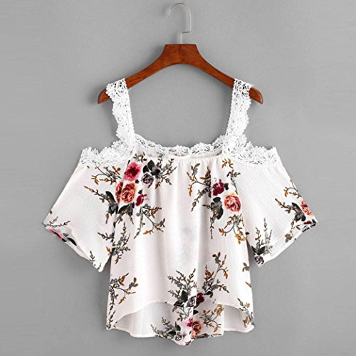 Coper Summer Womens Sexy Lace Floral Off Shoulder T-Shirt Short Sleeve Tops (S)