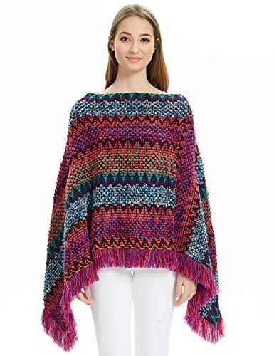 Ferand Gestreifter Mexikanischer Mehrfarbiger Boho Damen Poncho-Schal Strick-Pullover, Fuchsie, Einheitsgröße (Beste Passform S-L)