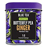 BLUE TEA - Schmetterlingserbsenblüte Ingwer Kräutertee - 15 Pyramidenteebeutel (30 Tassen) |...