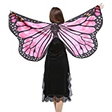 Vimoli Schmetterling kostüm Frauen Schmetterling Flügel Schals Poncho Kostüm Verkleidung Zubehör für Cosplay/Show/Daily/Party, Damen Schöner Chiffon Schmetterlingsflügel Schal(I Hot Pink,147 * 70CM)