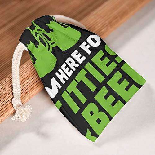 RNGIAN I'm Here For Tittles & Beer - Bolsas de Almacenamiento con cordón (tamaño Grande, 6 Paquetes), Color Blanco, tamaño 12 * 18cm