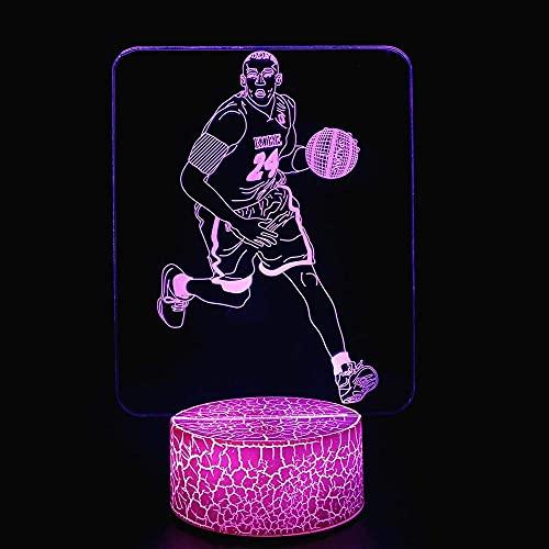Lámpara de ilusión 3D Led Led 3D Noche LightBasketball Player 3D Lámpara de ilusión Led Luz Nocturna USB y Baterías Alimentadas, Regalo Satisfactorio para Niños