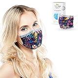 ALB Stoffe® ProtectMe - Einwegmasken FLOWER FIELD, 100% Made in Germany, Nasen-Mund-Masken bedruckt, OP Masken bunt, 20er Pack
