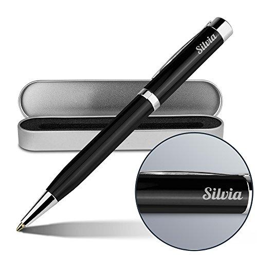 Kugelschreiber mit Namen Silvia - Gravierter Metall-Kugelschreiber von Ritter inkl. Metall-Geschenkdose