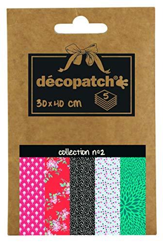 Décopatch DP002O Packung Décopocket mit 5 Papierbogen (30 x 40 cm) (gefaltet, 13 x 9,5 cm, praktisch zum Transportieren und einfach zum Verwenden) 1 Pack farbig sortiert