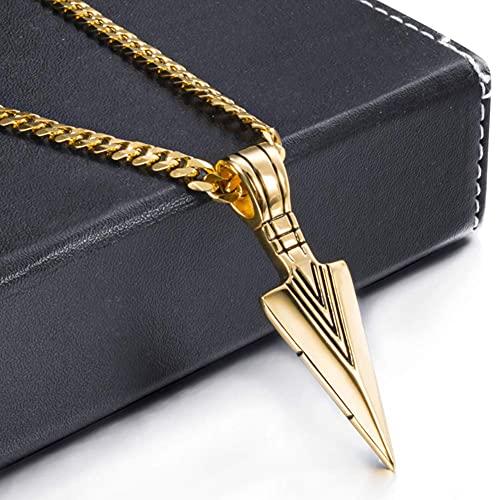 AMOZ Colgante de punta de flecha para hombre, de acero inoxidable, para hombre y niño, estilo gótico, vintage, punk rock, motorista, con cadena de trigo de 61 cm, color dorado