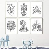 Póster de arte de pared de esqueleto de anatomía humana médica, impresión de arte de corazón de cerebro, corazón, pulmón, lienzo, pintura, clínica, decoración del hospital   30x42cmx6 sin marco