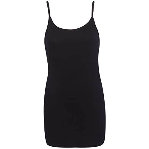 25e9a54ac1fa Purple Hanger Womens Plain Sleeveless Ladies Stretch Round Scoop Neckline  Long Strappy T-Shirt Camisole