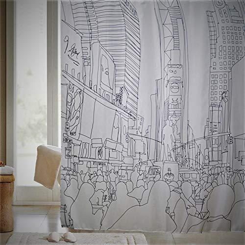 VÄLSON Duschvorhang 180x200 cm Grey City incl. Ringe schimmelfrei antibakteriel mit verstärkte Lochleiste & Gewichtsaum