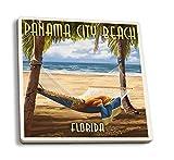 Juego de 4 posavasos de goma para bebidas, playa de Panamá, Florida, hamaca y palmas, posavasos absorbentes, posavasos para protección de mesa, cocina, sala de bar, decoración
