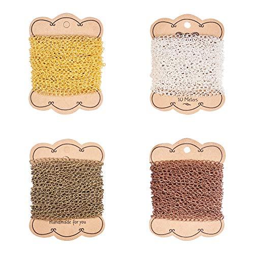 PandaHall 4 colores 10 m (32 ft) / Color hierro Twisted Chains Collar de cable sin soldar para DIY artesanía fabricación de joyas DIY bronce antiguo rojo cobre plata dorado