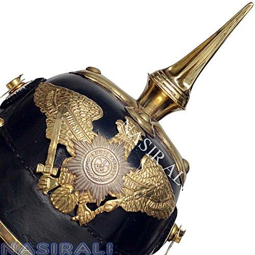 NASIR ALI WWI Deutscher Preußischer Helm Leder Pickelhaube Helm mit Messing Kinnriemen
