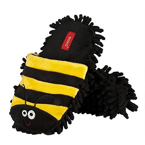 soxo multifunktionale Bodenreinigungs-Mopppantoffeln | Größe 36-39 | Lustige Pantoffeln Bienen Marienkäfer | zum Staubwischen