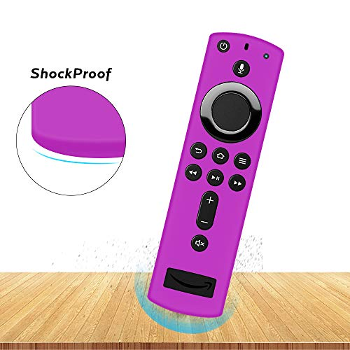 Remote Case/Cover for Amazon Fire TV Stick 4K,Fire TV Cube,Fire TV Stick with Alexa Voice Remote,Silicone Protective Case Shockproof[Anti-lost]Skin Holder for 3rd/2nd Gen All-new Remote Control-Purple