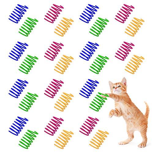 Ledoo Juguete para Gato en Espiral de 40 Piezas Juguete para Primavera de Gato Juguete Interactivo para Gato de Juguete Muelles en Espiral Juguete en Espiral Colorido Permanente para Gatitos Gatos