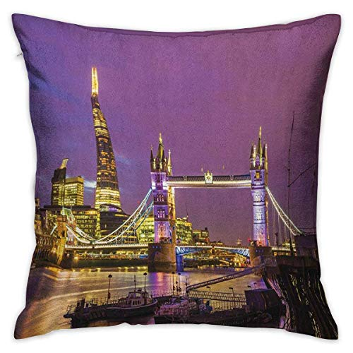 N\A London Square Pillowcase Protector Tower Bridge in London at Night Historical Cultural Monument Europe British Urban Purple Yellow Cushion Cases Pillowcases for Sofa Bedroom Car