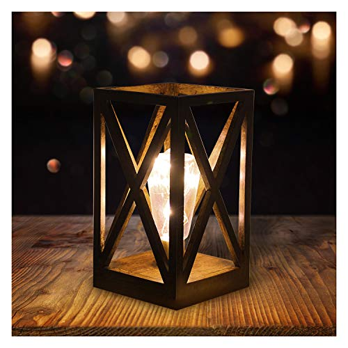 Lámpara de noche LED, lámpara de mesa retro, funciona con pilas, luz nocturna vintage, con temporizador, para dormitorio, salón, comedor, oficina, luz blanca cálida, decoración