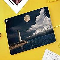 新型iPadケース スマートカバー アイパッドケース タブレットカバー プロ10.5 iPad Pro 10.5 オートスリープ機能 スタンド付き ダイアリー 手帳型 ブ(モデル番号:A1701,A1709)ムーンライト島の灯台アイル大雲海シーサイドウォーターフロントナイトタイムベイ