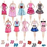 AiteFeir Abiti Barbie 20 Articoli Inclusi 10 Pezzi Moda Casual con 10 Paia di Scarpe per Barbie Doll Christmas Xmas Gift