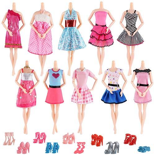 AiteFeir 20 Abiti da Matrimonio alla Moda Fatti a Mano Abito per Party Articoli Inclusi 10 Pezzi Moda Casual con 10 Paia di Scarpe per Barbie Doll Christmas Xmas Gift