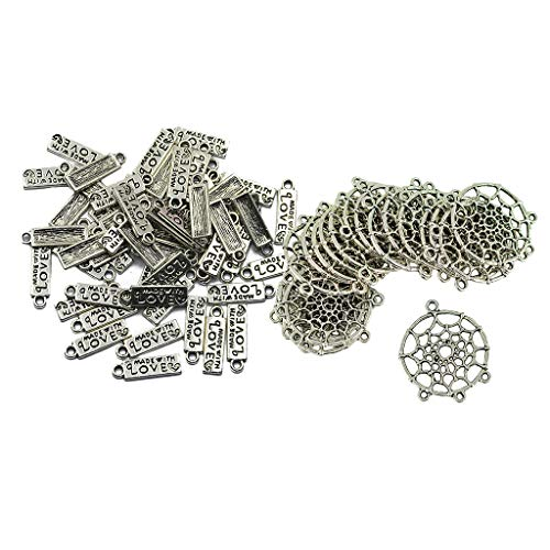 P Prettyia 70 Pieces Silver Alloy Dream Catcher MADE WITH LOVE Charms Pendants Jewelry Making Findings for DIY Necklaces Bracelets Earrings Anklet