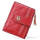 CLUCI Organizador de bolsillo pequeño de piel para mujer, diseño de embrague de viaje, para mujer, con cremallera, Red, Talla única,