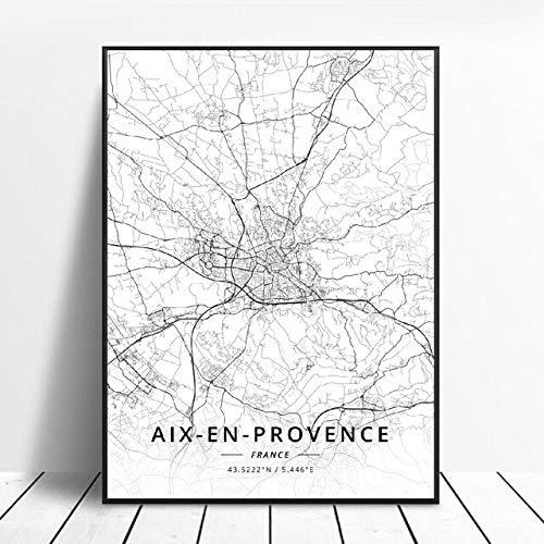 shuimanjinshan Nice Saint-Etienne Caen Aix-en-Provence Marseille Calais France Toile Art Carte Affiche 50X70Cm No Frame W-81