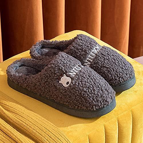 DHYF Zapatillas de Invierno para Interior y Exterior,Zapatillas de Felpa cálida de algodón, Zapatillas Antideslizantes para Hombres y Mujeres.-Gris_40-41,Pantuflas cálidas Pantuflas Ligeras y Suaves