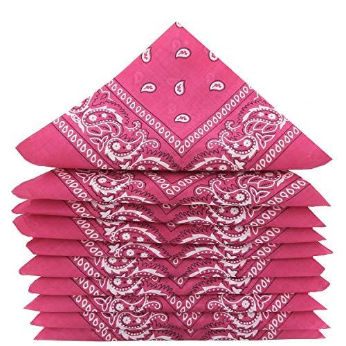 KARL LOVEN KARL LOVEN Bandanas 5er Pack 100% Baumwolle Paisley Halstuch Kopf Hals Schal (5er Pack, Fuchsia pink)