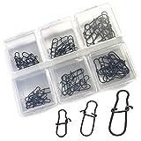 Adrenalin-Fishing Spin Snap Set XXL 2 60 unidades en 3 tamaños, incluye caja para piezas pequeñas, mosquetón, set de colgadores, color negro