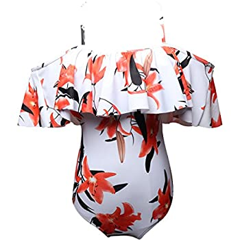 Mother Daughter Swimsuits Matching Family Mommy Girls Off Shoulder Printed Monokini Swimwear 164 Fire Lily 9-10 Years