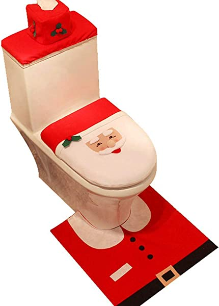 Coolrunner 3 Piece 3D Nose Christmas Lovely Santa Claus Toilet Seat Cover Set And Rug Red Decorations Bathroom Set