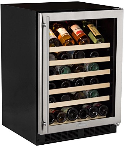 "Marvel 24"" Wine Refrigerator, stainless steel frame glass door, right hinge"