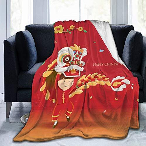 Manta de forro polar ultrasuave para adultos, manta de forro polar, para nios pequeos que realizan bailes de len con el disfraz de rama floreciente, manta suave y cmoda para sof de 152 x 127 cm