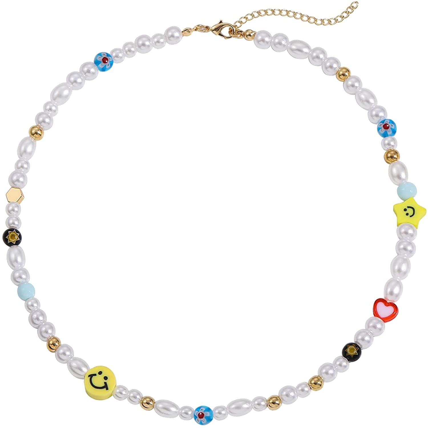 Sloong Y2K Smiley Face Pearl Choker Necklace Summer Rainbow Polymer Clay Vsco Beads Necklace Colorful Boho Cute Handmade Jewelry for Teen Girls Women Children