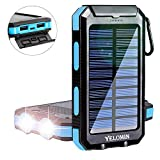 Solar Power Bank,Yelomin 20000mAh Portable Outdoor Mobile Charger,Camping External Backup Battery...
