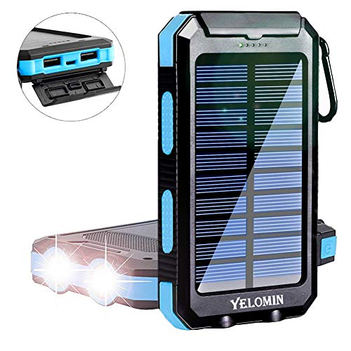 Solar Power Bank,Yelomin 20000mAh Portable Outdoor Waterproof Mobile Charger,Camping External Backup Battery Pack Dual USB 5V 1A/2A Outputs 2 Led Light Flashlight with Compass
