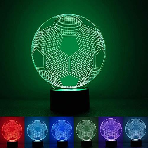 Fußball 3D Stereo Vision Lampe Acryl 7 Farben Ändern USB Schlafzimmer Nachttischlampe Nachtlicht Kreative Schreibtischlampe Deco Maison für Kinder