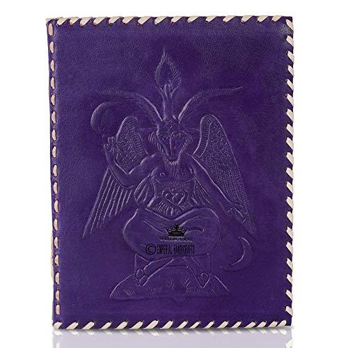 Diario in pelle Notebook A5 Goffrato Sigil Baphomet Diario di viaggio fatto a mano con carta sfoderata per scrivere e disegnare regalo per uomo e donna - Viola