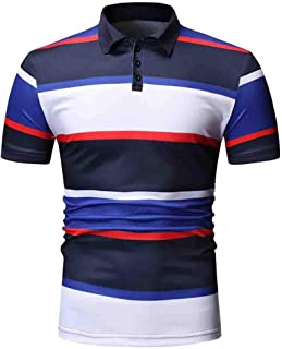 Mens Fashion Business Stripe Colorblock Short Sleeve Casual T-Shirt Polo Tops