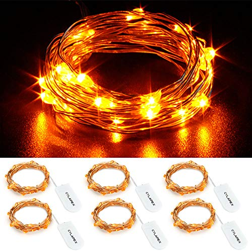 CYLAPEX 6 Pack Orange Fairy Lights 3.3FT Silvery Copper Wire 20 LED Fairy String Lights Small Starry Lights Firefly Battery Operated Micro String Lights for Christmas DIY Decor Halloween Wedding Party