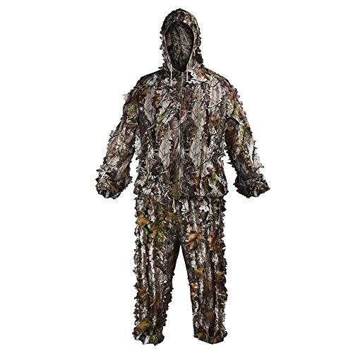 LOOGU Tarnanzug Ghillie Suit mit Kapuze Leicht und Atmungsaktiv Tarnung Jacke und Hose 3D Design Woodland Camouflage Tarnkleidung Anzug Herren Damen Camo Kleidung Für Jagd Angeln Tierbeobachtung