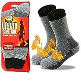 JARSEEN Warme Winter Thermosocken mit Vollplüsch und Wolle Dicke Weiche Stiefel Socken Damen Herren (Schwarz, L/Herren 39-45; Damen 40-45)