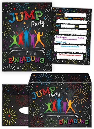 12 Einladungskarten inc. 12 Umschläge zum Kindergeburtstag Jump Trampolin Mädchen Junge Einladungen Geburtstag