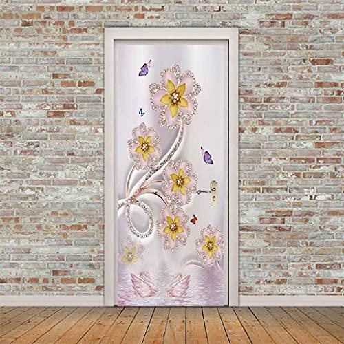 CUUDBP 3D Etiqueta De La Puerta, Mariposa Flor Rosa Impermeable Extraíble Pegatinas De Pared Pintura Mural Autoadhesivos Papel Tapiz para Puertas Interiores Dormitorio Decoracion 77X200Cm