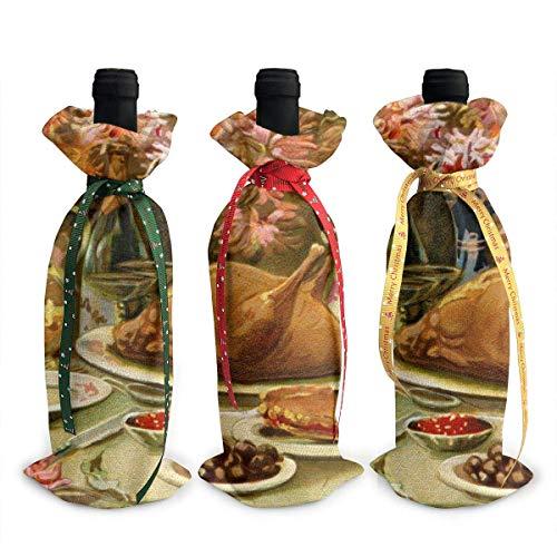 3-teiliges Set für Weinflaschen, für Weihnachten, Weihnachten, für den Erntedankfest, für Esstisch, Party, Urlaub, Fiesta, Dekoration, Geschenk